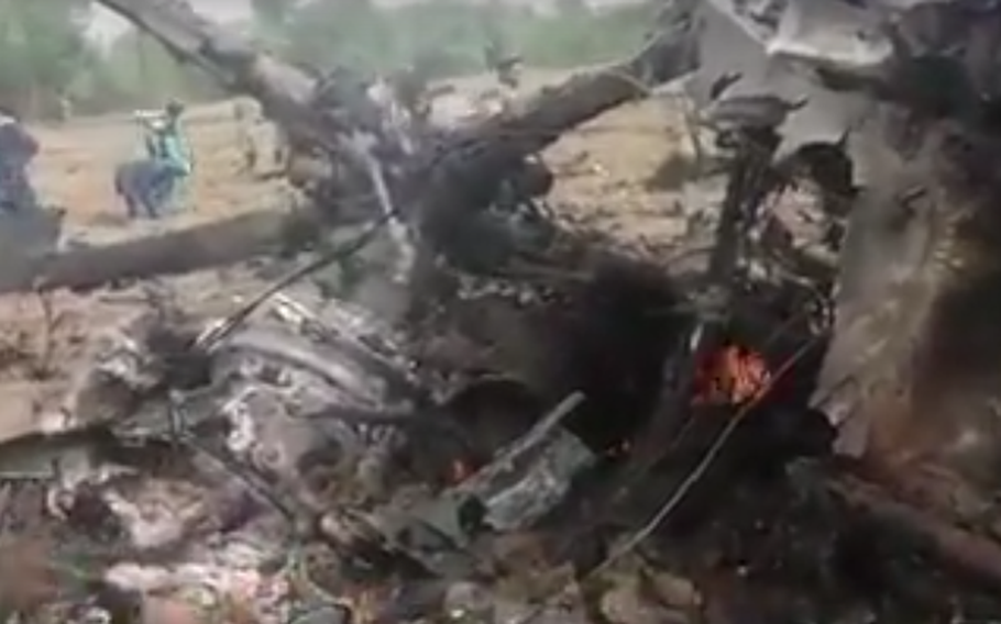 A video released by the Taliban appears to show a destroyed Afghan helicopter in Helmand province on Sunday, May 13, 2018. The Taliban claimed to have shot the aircraft down, but Afghan officials said it made an emergency landing due to technical difficulties and was destroyed by government troops.
