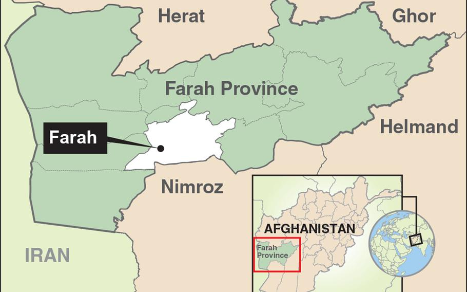 Heavy fighting was ongoing in western Farah province near the Iranian border Tuesday morning.