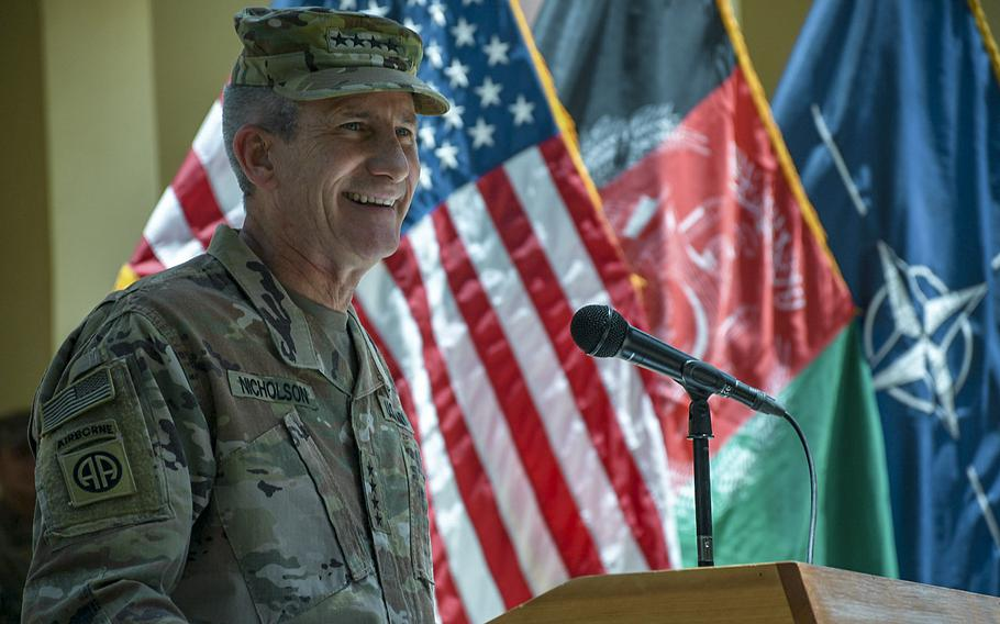Gen. John Nicholson, the U.S.'s top commander in Afghanistan, speaks at an Independence Day ceremony at NATO's Resolute Support headquarters on July 4, 2018.