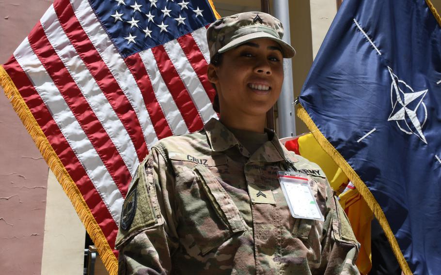 Army Cpl. Ruby Cruz celebrates Independence Day at NATO's Resolute Support headquarters on Wednesday, July 4, 2018.