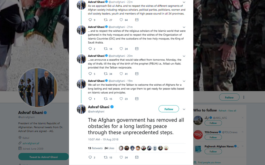 Afghan President Ashraf Ghani sent out a series of Tweets on Sunday, offering a cease-fire between Afghanistan forces and the Taliban insurgents who have stepped up attacks across the country in recent weeks.