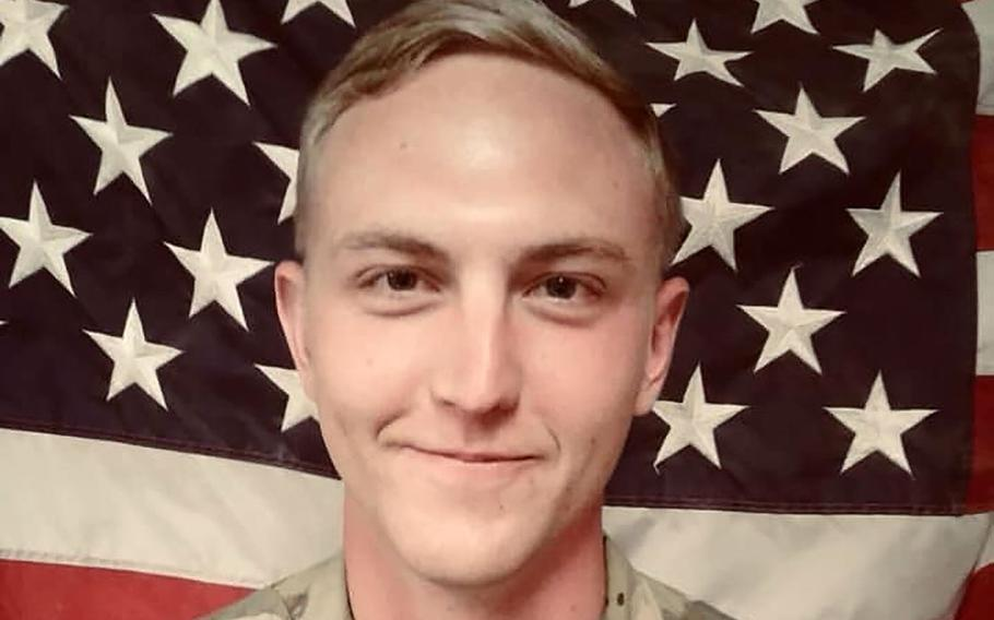 Spc. James Slape was fatally wounded Thursday, Oct. 4, 2018 as he worked to clear an area of explosives in southern Helmand province in Afghanistan after a blast had damaged a vehicle.