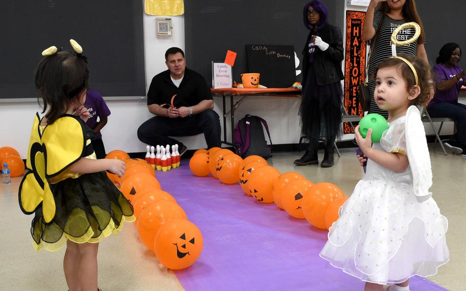 Children in costumes play games at the Bahrain School's Spooktakular event on Thursday, Oct. 25, 2018.