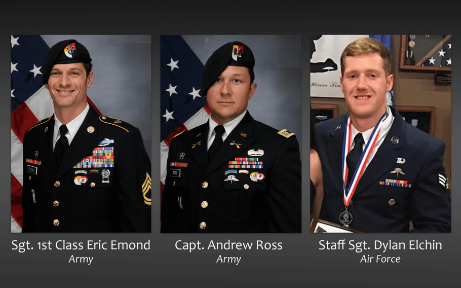 Army Sgt. 1st Class Eric Michael Emond, 39, of Brush Prairie, Wash., Army Capt. Andrew Patrick Ross, 29, of Lexington, Va., and Air Force Staff Sgt. Dylan J. Elchin, 25, of Hookstown, Penn., died Nov. 27, 2018, from injuries sustained when their vehicle was struck by an improvised explosive device in Andar, Ghazni province, Afghanistan.