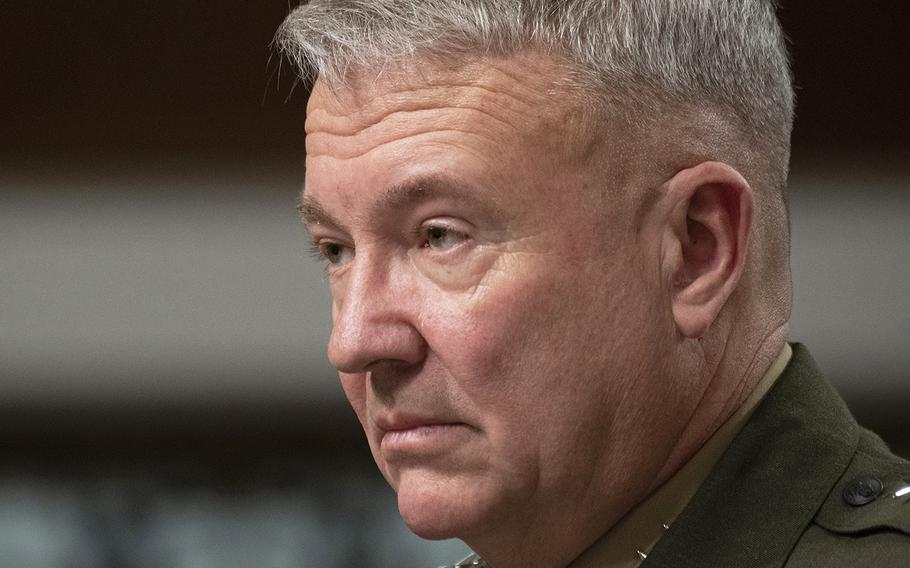 Lt. Gen. Kenneth F. McKenzie, Jr., nominee to serve as commander of U.S. Central Command, listens during his Senate Armed Services Committee confirmation hearing on Capitol Hill, Dec. 4, 2018.