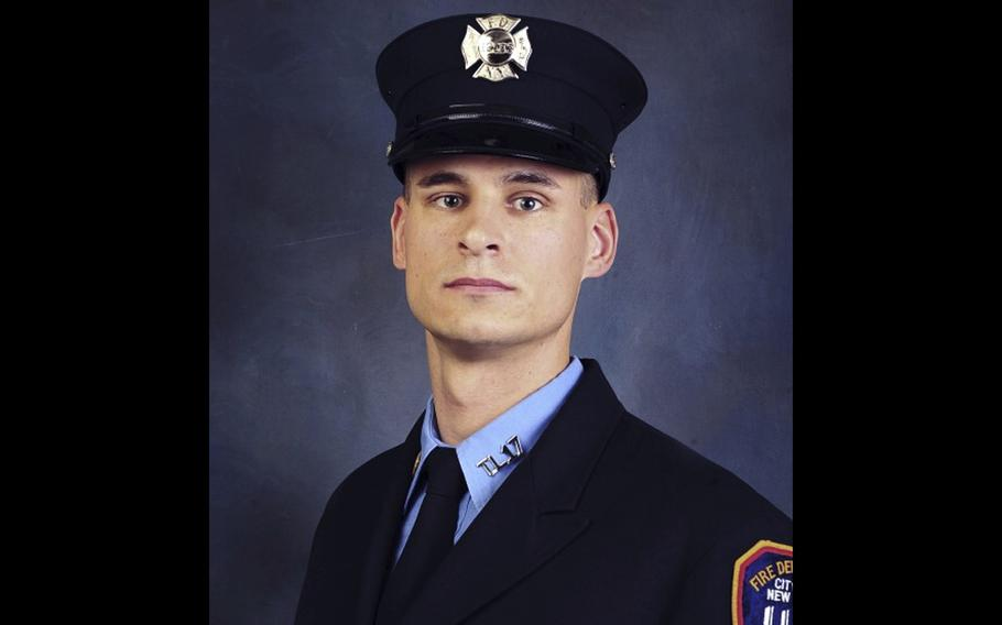 """Fire Department of New York firefighter Christopher Slutman. """"Firefighter Slutman bravely wore two uniforms and committed his life to public service both as a New York City Firefighter and as a member of the United States Marine Corps,"""" said New York Fire Commissioner Daniel A. Nigro. Slutman was among three Marines killed by a roadside bomb in Afghanistan on Monday, April 8, 2019."""