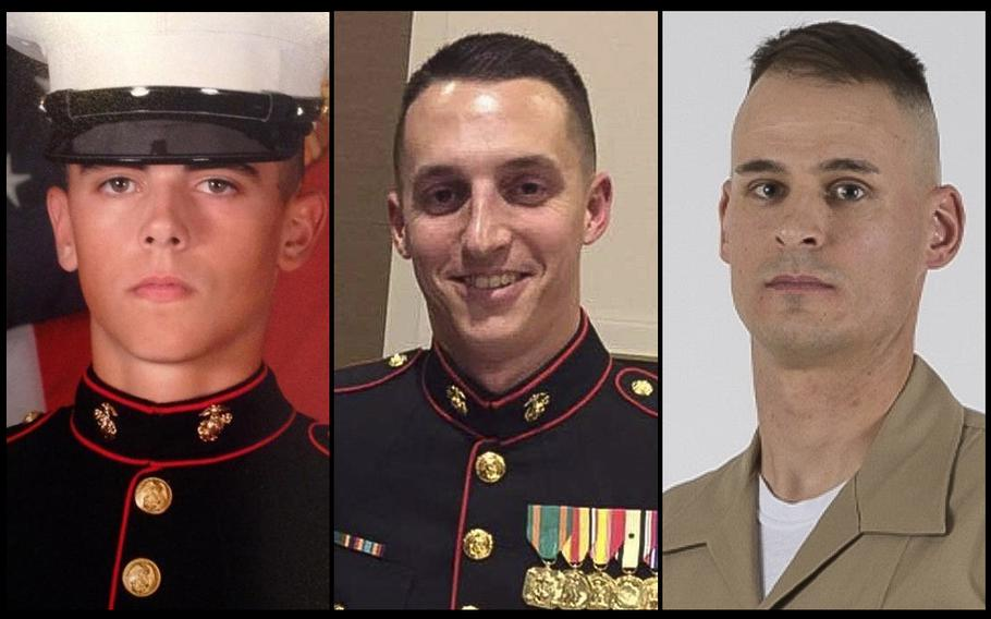 From left: Cpl. Robert Hendriks, Sgt. Benjamin S. Hines and Staff Sgt. Christopher K.A. Slutman were assigned to 25th Marine Regiment, 4th Marine Division, Marine Forces Reserve. The men were killed in a car bombing near Bagram Air Field on Monday, April 8, 2019.