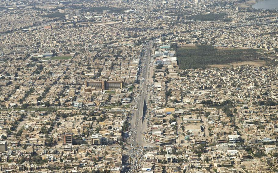 This file photo shows an aerial view of Baghdad, Iraq, on April 3, 2017.