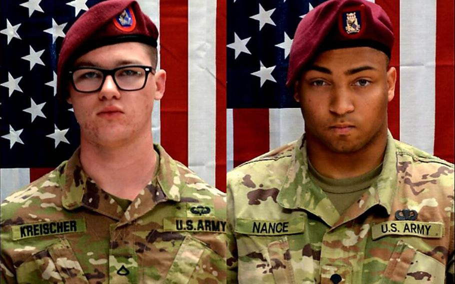 Pfc. Brandon Jay Kreischer and Spc. Michael Isaiah Nance died Monday, July 29, 2019, in Tarin Kowt, Uruzgan province, Afghanistan, as a result of wounds sustained in a combat related incident, the Defense Department said. The incident is under investigation.