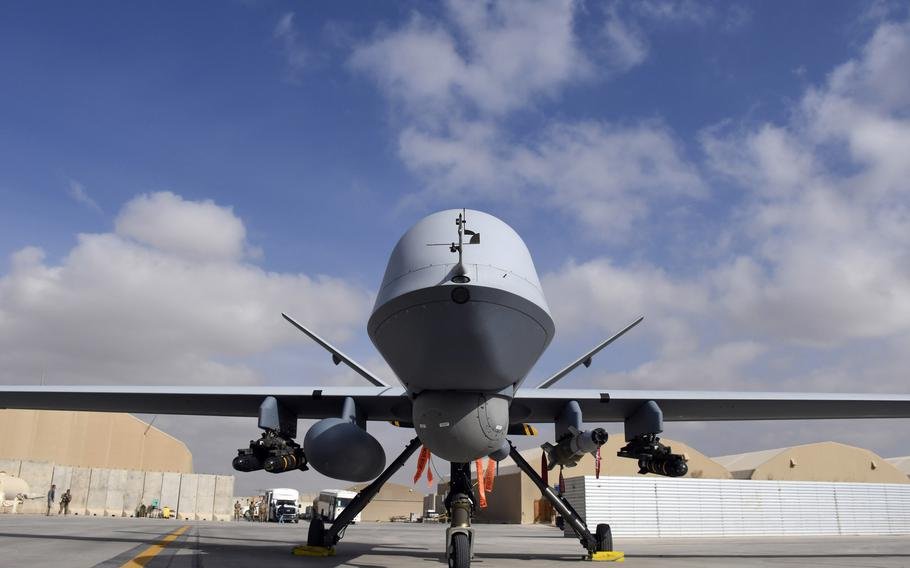 An MQ-9 Reaper drone sits on the ramp at Kandahar Air Field, Afghanistan, in 2018.