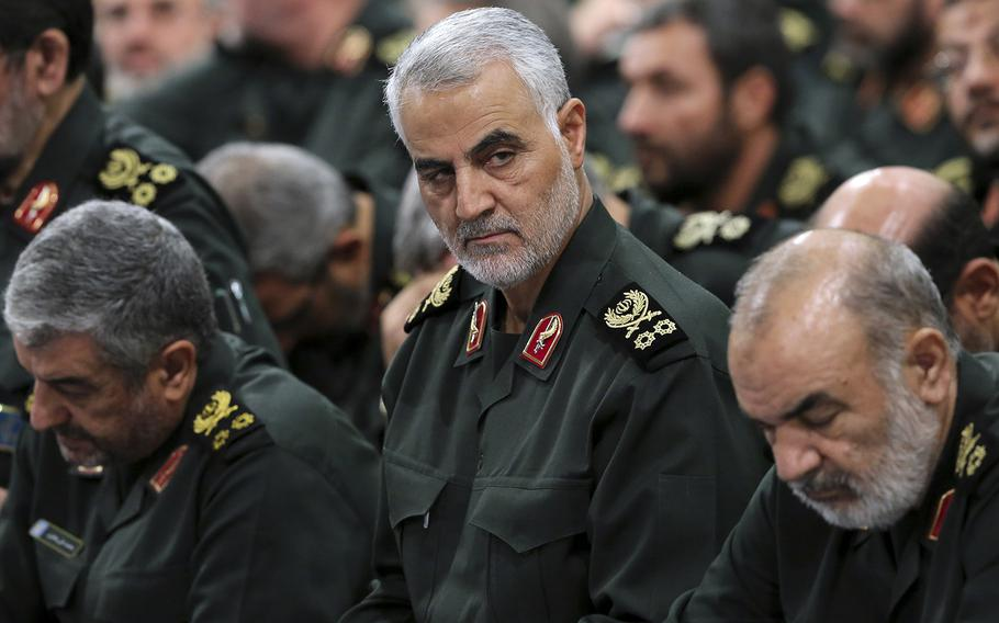 Revolutionary Guard Gen. Qassem Soleimani, center, attends a meeting in Tehran, Iran, on Sept. 18, 2016.