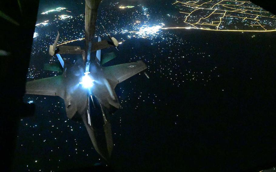 A U.S. Air Force F-35A Lightning II assigned to the 4th Expeditionary Fighter Squadron, Al Dhafra Air Base, United Arab Emirates, receives fuel from a KC-10 Extender, above an undisclosed location, Sept. 10, 2019.
