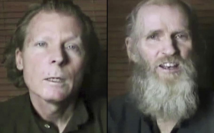 Australian Timothy Weeks, left, and American Kevin King, as shown in a 2017 Taliban video.