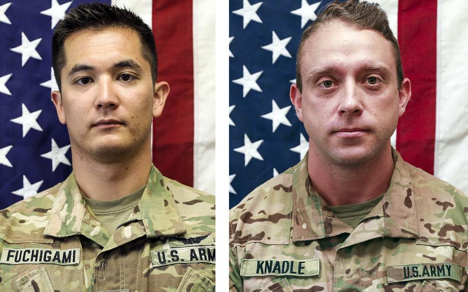 Chief Warrant Officer 2 Kirk T. Fuchigami Jr., left, and Chief Warrant Officer 2 David C. Knadle were killed Wednesday in a helicopter crash in Afghanistan.