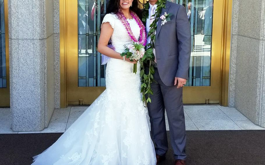 McKenzie Fuchigami and Chief Warrant Officer 2 Kirk T. Fuchigami Jr. celebrate their wedding day on March 30, 2019.