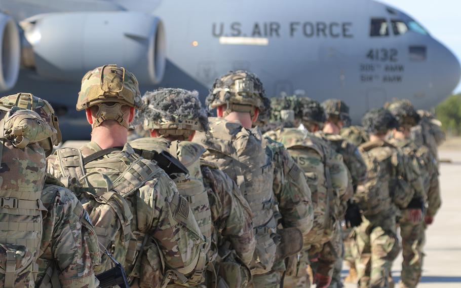 U.S. Army Paratroopers assigned to the 2nd Battalion, 504th Parachute Infantry Regiment, 1st Brigade Combat Team, 82nd Airborne Division, deploy from Pope Army Airfield, North Carolina, on Jan. 1, 2020. Elements of the Immediate Response Force mobilized for deployment to the U.S. Central Command area of operations in response to increased threat levels against U.S. personnel and facilities.