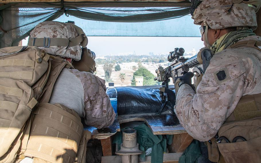 U.S. Marines with 2nd Battalion, 7th Marines, assigned to the Special Purpose Marine Air-Ground Task Force-Crisis Response-Central Command 19.2, reinforce the Baghdad Embassy Compound in Iraq, Jan. 3, 20202.
