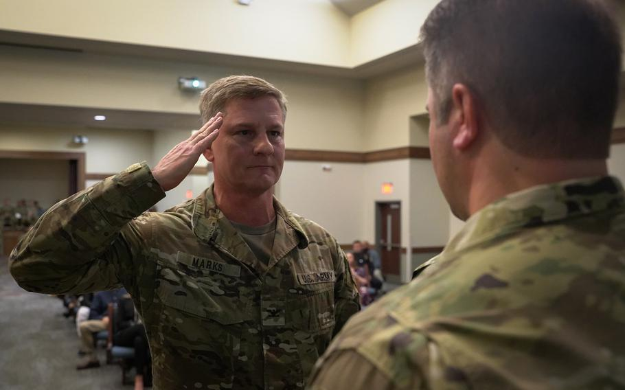Pictured here on Thursday, Jan. 9, 2019, 1st Special Forces Command (Airborne) Deputy Commander Col. Steven M. Marks salutes a 2nd Battalion, 7th Special Forces Group (Airborne) soldier during a ceremony at the chapel on Eglin Air Force Base, Fla., after presenting him a medal for valorous acts during the battalion's recent deployment to Afghanistan. Liberty chapel on Jan. 9.  Jose Vargas/U.S. Army