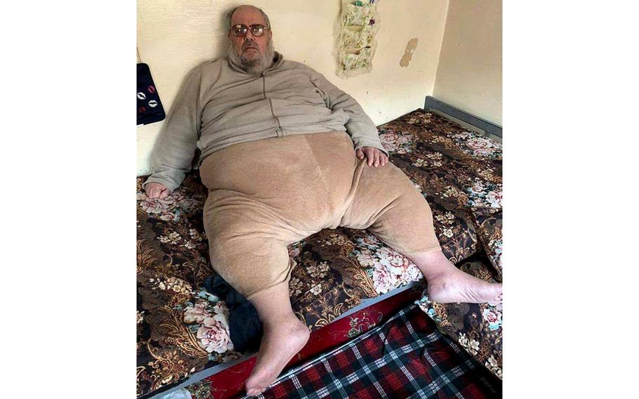 """An Iraqi SWAT team captured a high-ranking Islamic State official, Abu Abdul Bari in Mosul, officials announced January 16, 2020. Pictures of the arrest of the bulky Bari spawned social media memes including """"He puts the fat in fatwa"""" and """"ISIS's very own Jabba the Hutt."""""""