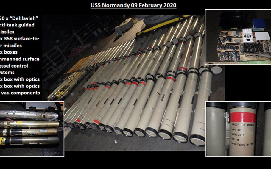 This slide provides a look at the breadth of weapons and components seized by the USS Normandy. It shows anti-tank weapons, surface-to-air missiles, and various electronic components for unmanned systems.