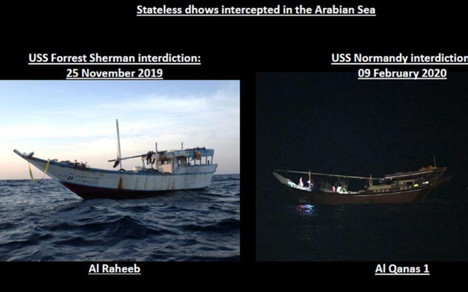 While conducting routine maritime security operations in the Arabian Sea, a team from the USS Normandy boarded this dhow and discovered a large cache of Iranian-made weapons that we assess were intended for delivery to the Houthis in Yemen.