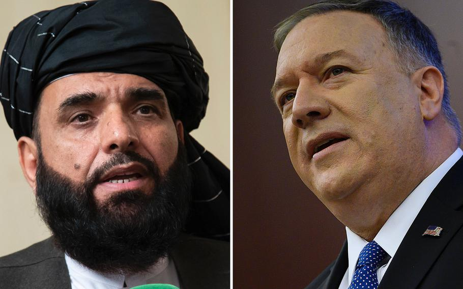 Suhail Shaheen, spokesman for the Taliban's political office in Doha, Qatar, and U.S. Secretary of State Mike Pompeo.