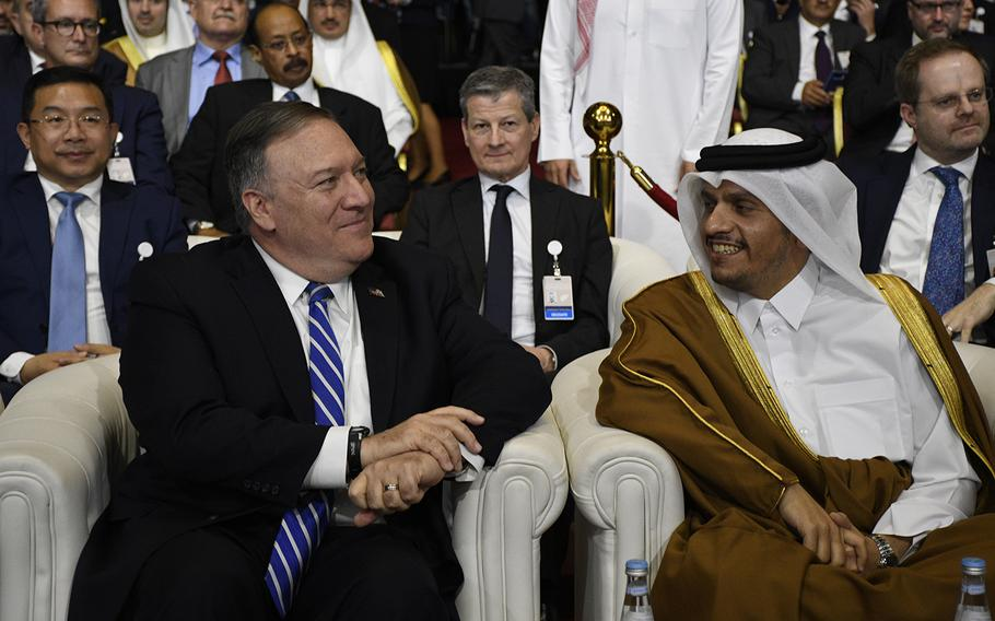 U.S. Secretary of Defense Mike Pompeo and Qatar's Foreign Minister Sheikh Mohammed bin Abdulrahman Al-Thani attend a signing ceremony Feb. 29, 2020, in Doha, Qatar, that could lead to the end of America's involvement in Afghanistan.