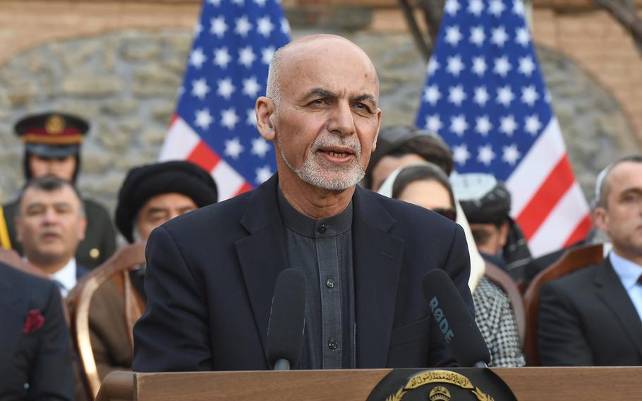 Afghan President Ashraf Ghani speaks at a ceremony in Kabul on Saturday, Feb. 29, 2020.