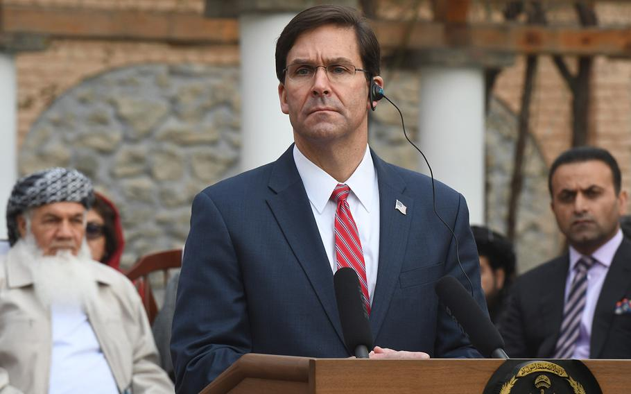 Defense Secretary Mark Esper speaks at a ceremony in Kabul on Saturday, Feb. 29, 2020, where he announced a joint declaration with Afghanistan aimed at bringing peace to the country.