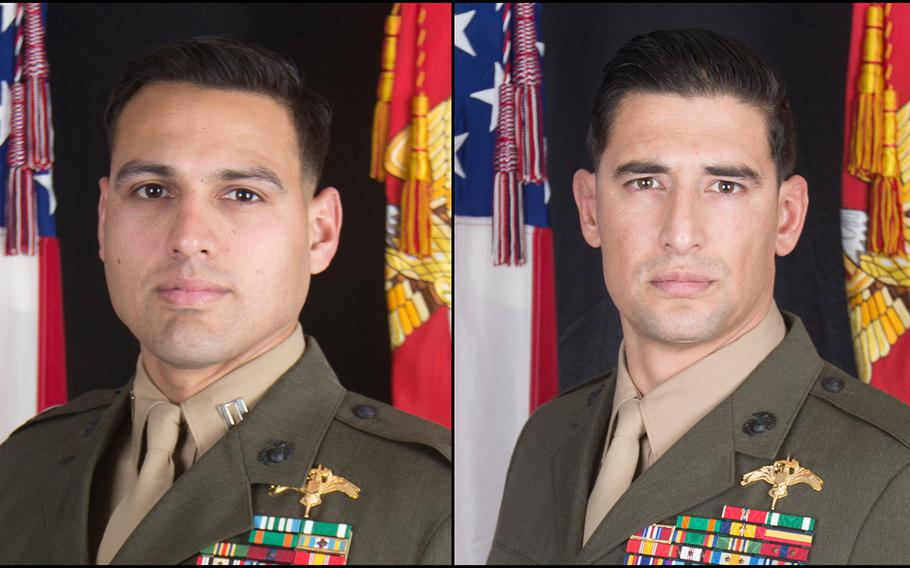 Capt. Moises A. Navas, left, and Gunnery Sgt. Diego D. Pongo were killed in Iraq on March 8, 2020.