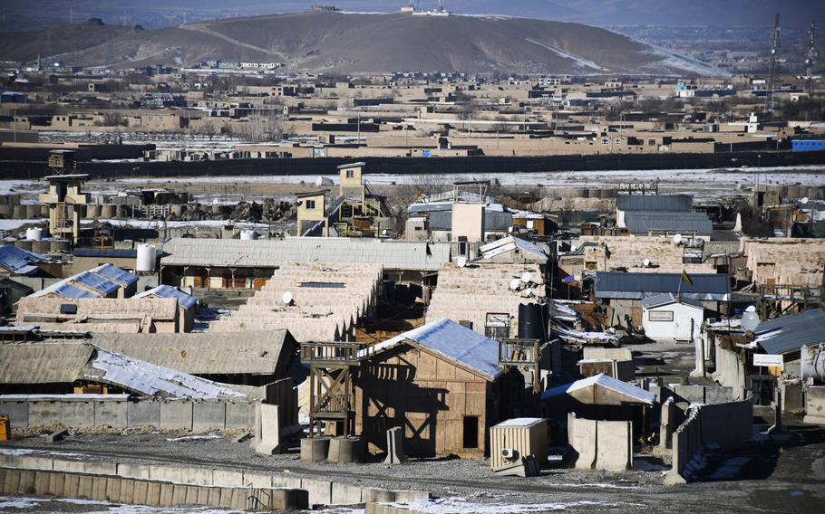 The view of Camp Maiwand in Logar province, Afghanistan.  U.S. Army Command Sgt. Maj. Timothy Bolyard was killed in an insider attack on Sept. 3, 2018 on Afghan army base, which is located on part of what was once Forward Operating Base Shank.