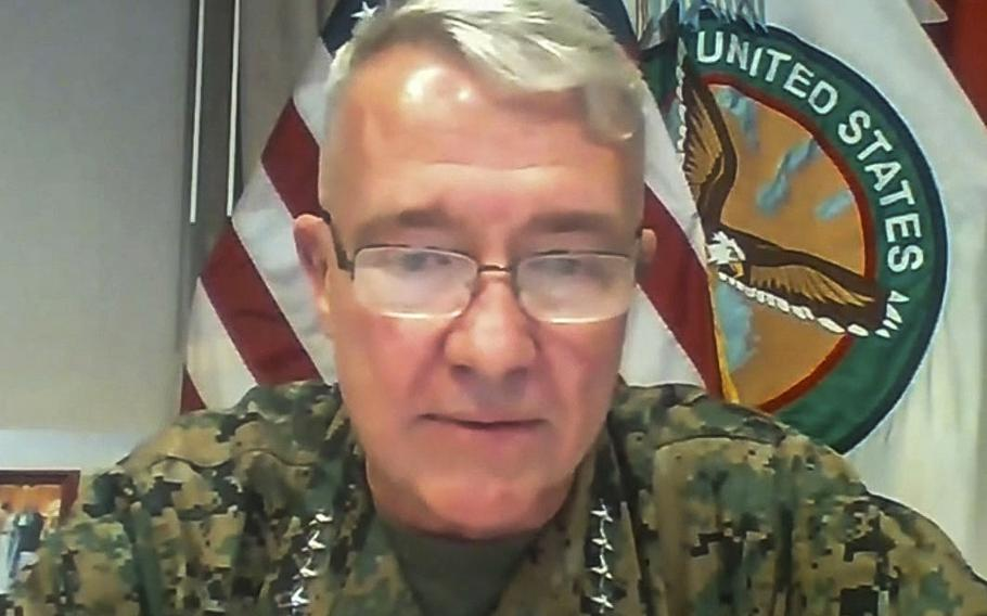 Gen. Kenneth McKenzie takes part in a virtual event hosted by the U.S. Institute of Peace, August 12, 2020.