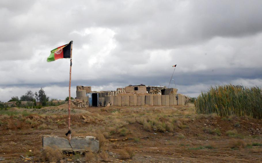 A checkpoint guarding a highway outside Lashkar Gah, in Helmand province, April 16, 2019. Hundreds have died after the Taliban launched an offensive in the area in mid-October, leading the U.S. to conduct airstrikes against the militants, officials and news reports said on October 14, 2020.