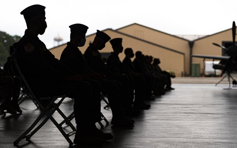 Afghan air force student pilots assigned to the 81st Fighter Squadron watch a graduation ceremony Nov. 13, 2020, at Moody Air Force Base, Ga. The class of Afghan A-29 Super Tucano student pilots will be the last to graduate in the U.S., the Air Force said.