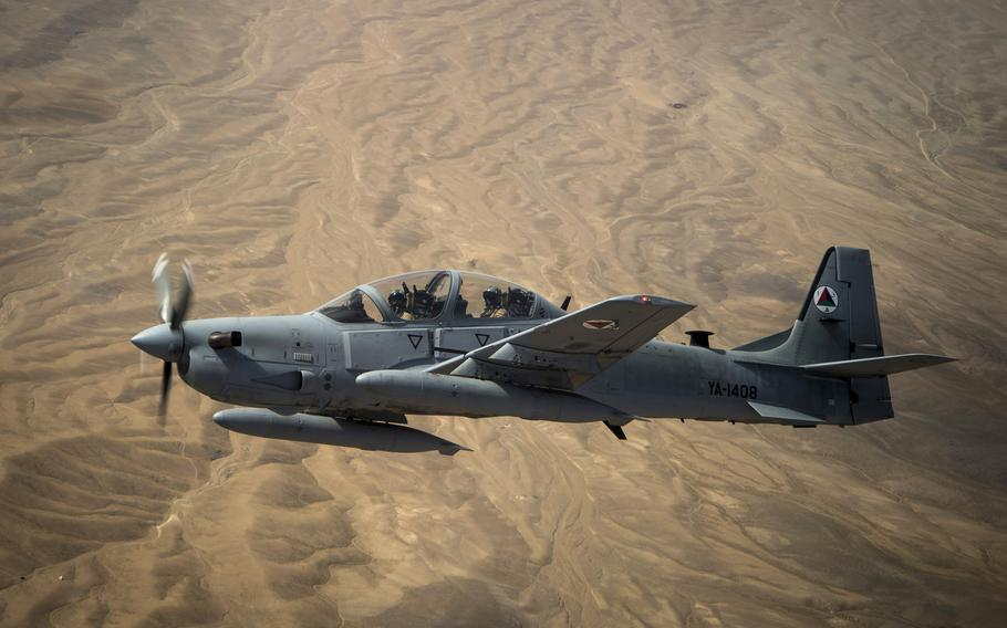 An Afghan air force A-29 Super Tucano soars over Afghanistan in 2015. The 81st Fighter Squadron at Moody Air Force Base, Ga., graduated its last class of Afghan A-29 Super Tucano student pilots Nov. 13, 2020.