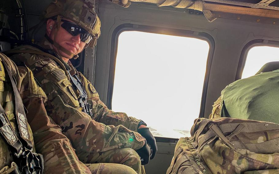 Capt. Kenneth Braun Stapley of the 1st Battalion, 32nd Infantry of the 10th Mountain Division flies to Kabul, Afghanistan, during a deployment in the spring of 2020. Peace talks, a pandemic and a drawdown brought him home after four months.