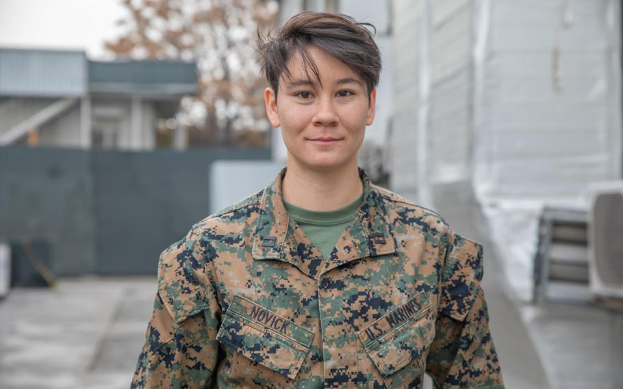 Marine Corps Capt. Audrey Novick, a California native, is one of thousands of U.S. troops spending Thanksgiving in Afghanistan this year. Novick is thinking about her family more this holiday because of the coronavirus pandemic, she said Nov. 25, 2020.