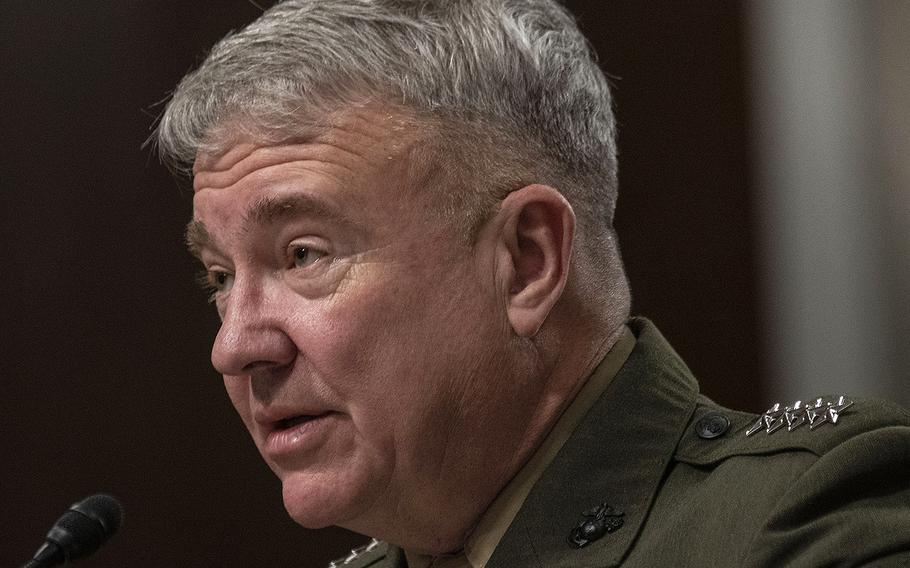 Gen. Kenneth F. McKenzie, Jr., commander of the United States Central Command, testifies at a Senate Armed Services Committee hearing on Capitol Hill, March 12, 2020.