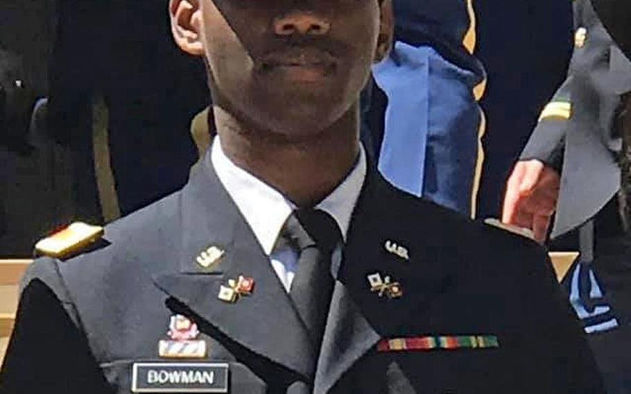 First Lt. Trevarius Ravon Bowman, 25, from Spartanburg, S.C., died at Bagram Airfield on Tuesday, May 19, 2020, in a noncombat incident.