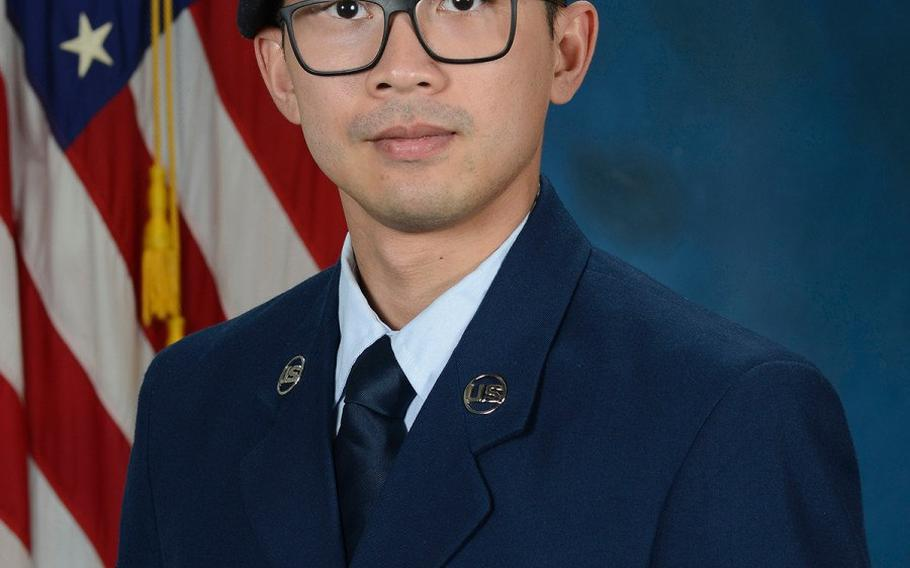 Senior Airman Jason Khai Phan, seen in 2019 as an airman first class, died as a result of noncombat-related injuries while conducting a routine patrol outside the perimeter of Ali Al Salem Air Base, Kuwait, on Sept. 12. He was assigned to the 66th Security Forces Squadron out of Hanscom Air Force Base, Mass.