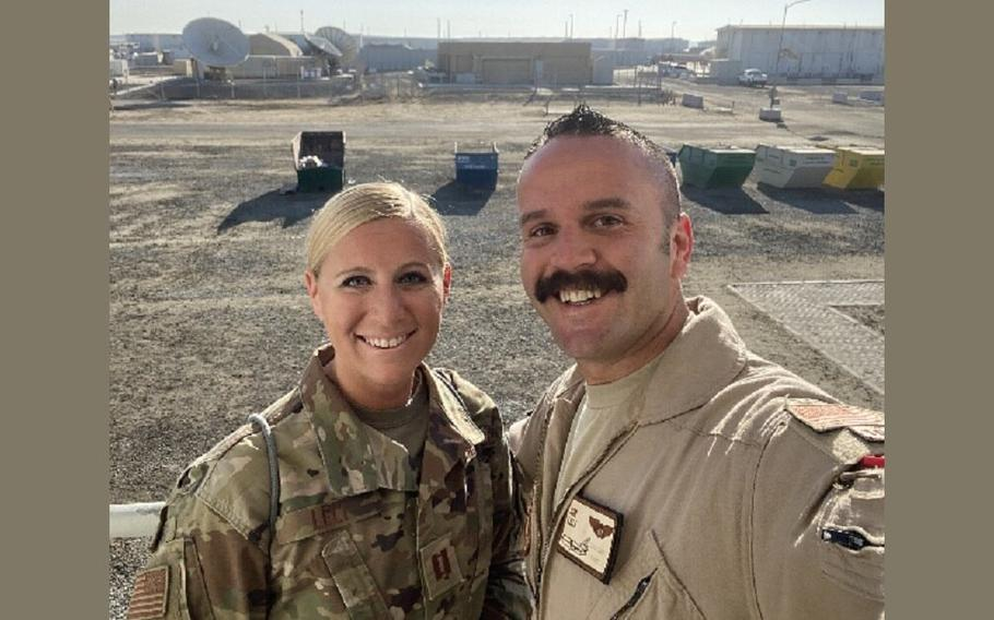 Air Force Capt. Kelliann Leli, left, is shown in an undisclosed location with her husband, Capt. Jimmy Leli, in the last picture of them together. Kelliann Leli, a medical doctor, died Nov. 27 in a noncombat-related vehicle accident at Al Dhafra Air Base, United Arab Emirates.