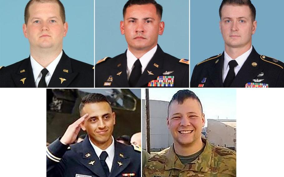 Five U.S. service members died in a helicopter crash on Nov. 12 while serving with an international peacekeeping mission in Egypt. They are, top row from left, Capt. Seth Vernon Vande Kamp, Chief Warrant Officer 3 Dallas Gerald Garza,  Staff Sgt. Kyle Robert McKee. Bottom row from left:  Chief Warrant Officer 2 Marwan Sameh Ghabour and Sgt. Jeremy Cain Sherman.