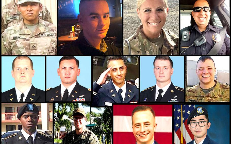 Twelve service members died while serving overseas in designated combat zones in 2020, and one was killed in an attack by militants on a base in Kenya.