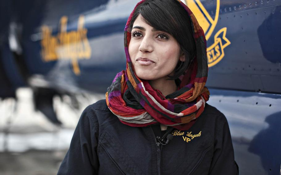 Niloofar Rahmani, Afghanistan's first female fixed-wing aviator, seen here during a visit to Naval Air Facility El Centro, Calif., in 2015, was granted asylum in the U.S. after receiving death threats from militant groups.