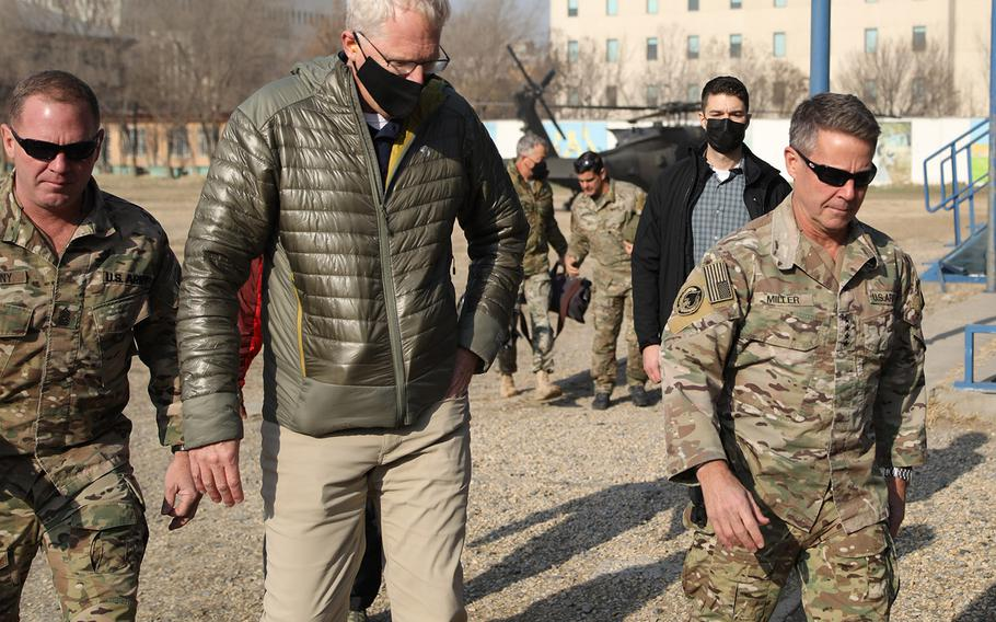 Acting Defense Secretary Christopher Miller is greeted at Resolute Support Headquarters in Kabul by its commander, Army Gen. Scott Miller, on Dec. 22, 2020. Miller visited Afghanistan to discuss the ongoing support for the country's security as well as learn more about the drawdown efforts of troops.