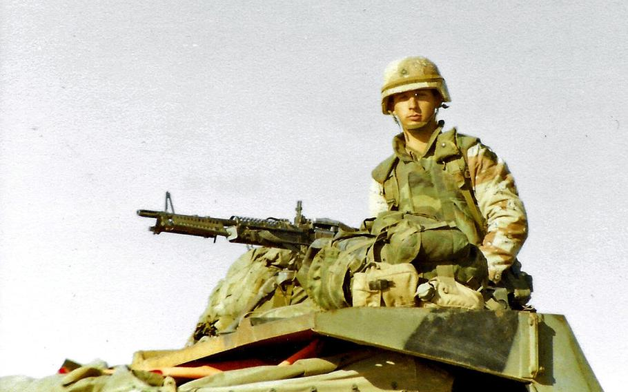 A young private mans his weapon in while deployed during the Gulf War, which started 30 years ago in January 1991.