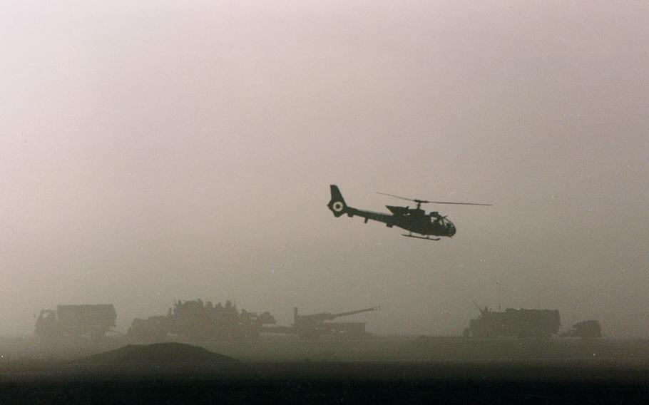 A dawn attack on Main Supply Route Texas during Operation Desert Storm in 1991.