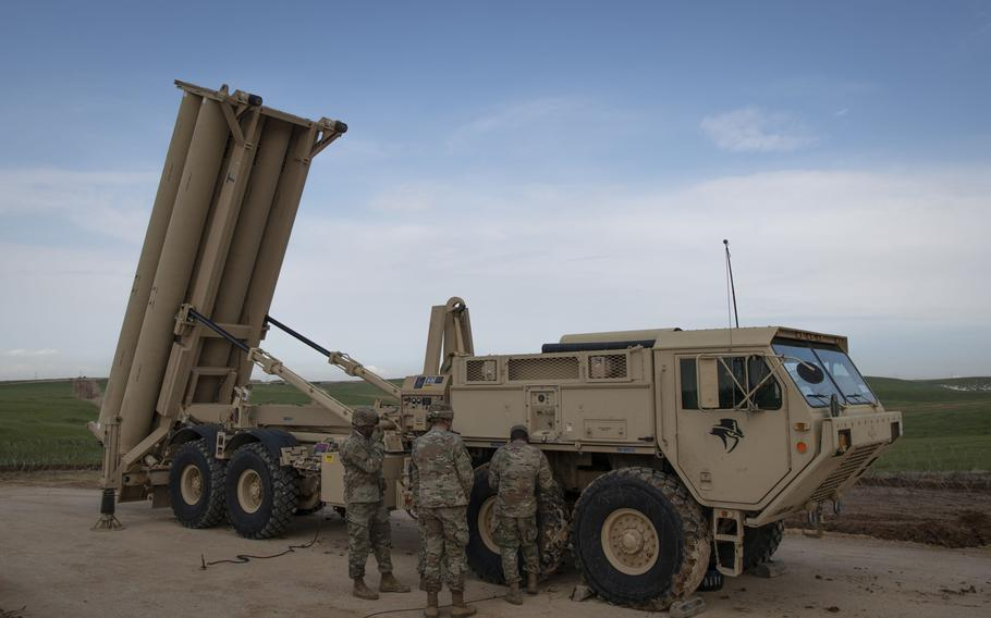 U.S. Army soldiers from the 11th Air Defense Artillery Brigade perform equipment checks on a Terminal High Altitude Area Defense launching station in Israel, March 4, 2019. Israel now falls under the responsibility of  U.S. Central Command, taking over a job that for decades was the task of U.S. European Command, The Wall Street Journal reported Jan. 15, 2021.
