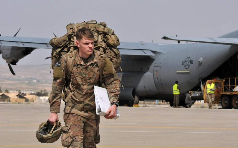 A U.S. Army soldier with the Vicenza, Italy-based 173rd Airborne Brigade disembarks a C-130 Hercules at Nevatim Air Base, Israel, in 2019. Israel now falls under the responsibility of  U.S. Central Command, taking over a job that for decades was the task of U.S. European Command, The Wall Street Journal reported Jan. 15, 2021.
