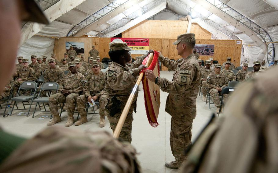 The 548th Combat Sustainment Support Battalion cases its colors in Afghanistan in 2014. U.S. troop levels in Afghanistan are now at a 19-year low, President Donald Trump said in a statement released Jan. 14, 2021.